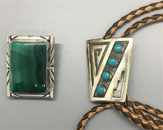 Two Vintage Sterling Silver Bolo Ties