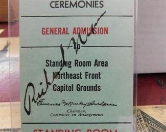 Richard Nixon Autographed Inauguration Stub