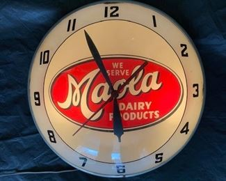 1960's Maola Dairy Products Double Bubble Clock(Advertising Products)