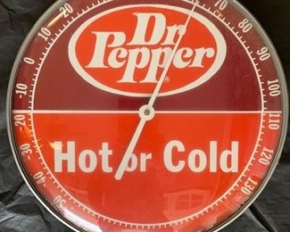"""1950's Dr. Pepper """"Hot or Cold"""" Thermometer(12"""" Diameter)"""
