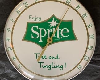 """1960's Sprite """"Tart and Tingling"""" Thermometer(12"""" Diameter)"""