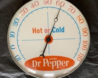 """1960's Dr. Pepper """"Hot or Cold"""" Thermometer(12"""" Diameter/Pam Clock Co.)"""