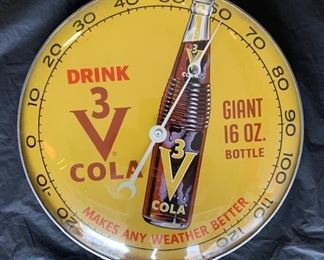 """1960's 3 V Cola """"Makes Any Weather Better"""" Thermometer(12"""" Diameter/Pam Clock Co.)"""