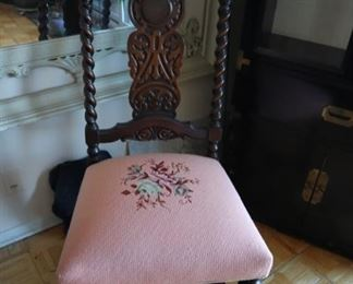 Jacobean side chair with needlepoint seat, barley-twist stiles