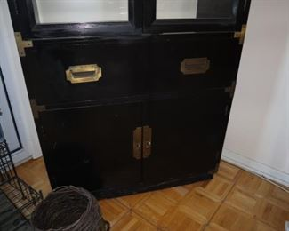 Black Chinoiserie Lighted Display Cabinet