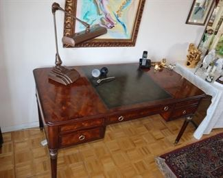 Theodore Alexander Desk with Leather Inlay writing surface, Machine Age desk lamp