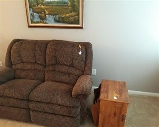 Reclining Love Seat and Magazine Rack End Table