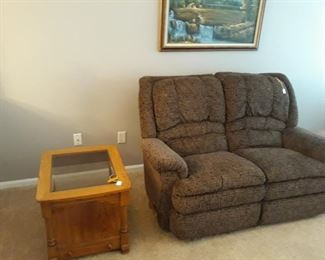 Reclining Love Seat and Glass Top End Table