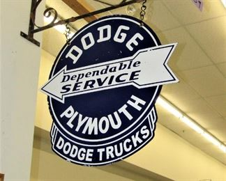 Porcelain Plymouth Dodge sign with hanger