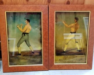 "2 Framed 19th Century Bare Knuckle Fighter Art, Tom Cannon and Tho Shelton Frames measure approximately 20"" x 14"""