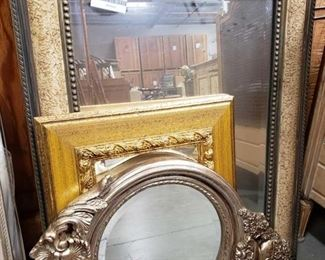 "3 Framed Mirrors Frames measure approximately 19"" x 17"" to 31"" x 25"""