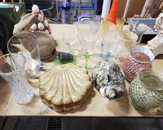Glass Decore and Drinking Glassware Includes cat statue, mouse, vases and more!