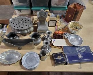 2 Metalars Pewter Dishes, Pewter Candle Holders, Cups, Vase, and More Includes other pewter items. Colibri lighter/cigarette case, 2 London Amsterdam matche books, duck dish, glasses, linden desk clock, hand fan and much more!!
