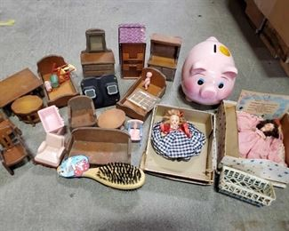 "Vintage Dolls, Doll Furniture and More 1 13"" Box of Toys Includes a Piggy Bank, and Doll Set Accessories"