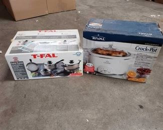 Crock Pot, Pots, and Pans - New in Box Crock Pot, Pots, and Pans Brand New In Box, Brands Include Rival, and T-FAL