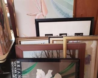 "6 Pieces of Framed Artwork and Empty frame Measurements range from approx 30""×60.5"" to 36""x24"""