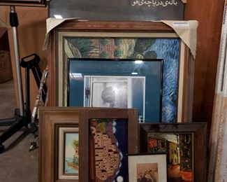 "7 Framed Pieces of Wall Art Measures approx from 11""x13"" to 25""x36"""