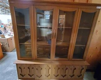"Wooden China Cabinet with Cubboards Measures approx 16""x61""x71"""
