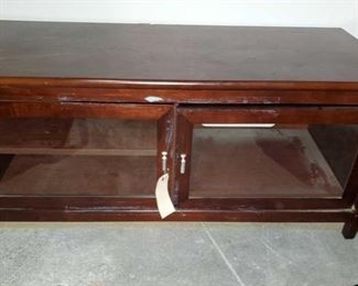 "Tech Craft Wooden TV Stand Model number: SWP48 Measures approx 20""x28""x22"""