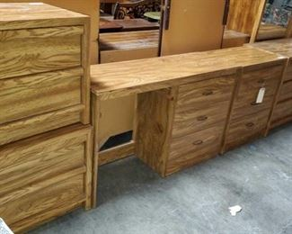 "Includes 3 Nightstands, Desk with 3 drawers and Dresser with Mirror Measures approx 17""x22""x21"" to 17""x48""x29"" Mirror measures approx 28""x48"""