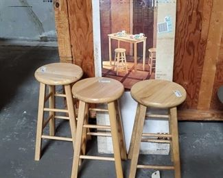 "3 Stools and a Breakfast Bar Breakfast Bar NEW in box measures approx 4""x19""x44"" Stools measure approx 12""x24"""