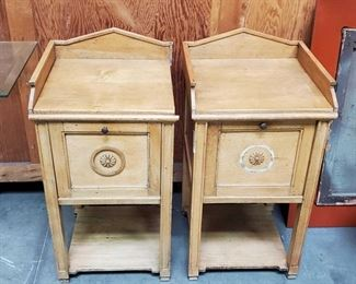 "2 End Tables with Marble Slab Interior Measures approx 16""x16""x31"""