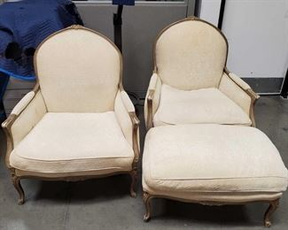"2 Chairs with Ottoman Chairs measure approx 35""x32""x41"" Ottoman measures approx 35""x24""x18"""