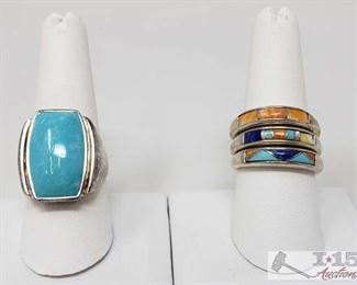 .925 Sterling Silver Rings With Turquoise, Weighs Approx 22.5g .925 Sterling Silver Rings With Turquoise, Weighs Approx 22.5g, Sizes Include