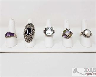 925 Sterling Silver Rings, Weighs Approx 50g .925 Sterling Silver Rings, Weighs Approx 50g, Sizes Includes 9.5, 9, 7, 10
