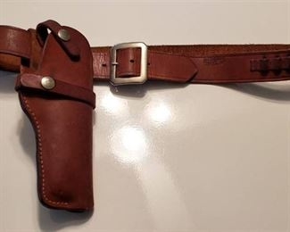 Bucheimer Leather Holster and Ammo Belt (Small Caliper Shells) ~ 36 in. long