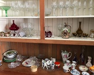 Fine crystal and everyday stemware, Chocolate set, decanters, antique and vintage platters and serving vessels.