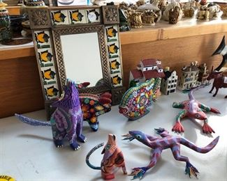 Mexican painted and beaded animals, antique donkey bank, 2 houses from Venice and one from Amsterdam.