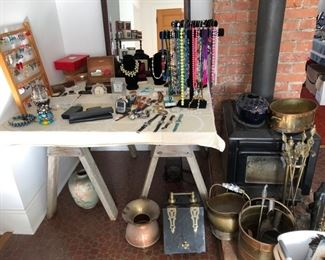 Mens and womens jewelry and watches, Kent wood stove, fireplace/woodstove supplies, antique spittoon and coal/ash bin.
