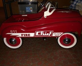 Child's Fire Chief pedal powered car in excellent condition (reproduction)