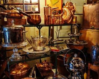 Silverplate, copper, all sorts of unique serving pieces