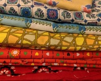 Vintage fabric, sewing notions, buttons