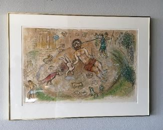"Chagall ""Homer's The Odysee""  number 30/250 Cyclops with Odysseus driving olive stake into his eye.  Asking $1200 piece measures 32""w x  23""h"