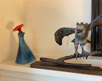 "Kosta Boda signed Kjell Engman Abstract Modernist glass sculpture  7""h asking $100  Vicki Banks cast bronze bird-osprey sculpture asking $200  8.5""h"