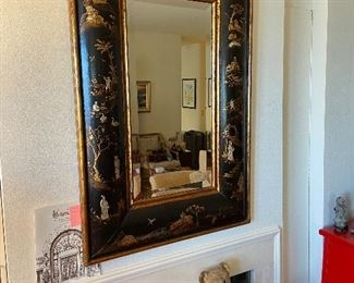 """Rectangular black gilt and silver framed mirror with painted and low relief chinoiserie design pavilions, trees etc. 47.5""""h x 31.5""""w.  Purchased at Maison Felice in Palm Desert.  Originally $5200.  Asking $2700"""