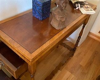 """William and Mary style gate leg table made of walnut and rosewood 33.5""""w x 26.5""""d x 30""""H when open.  When closed as shown it is only 13.5""""d.  a perfect game table. Originally $1485 asking $390"""