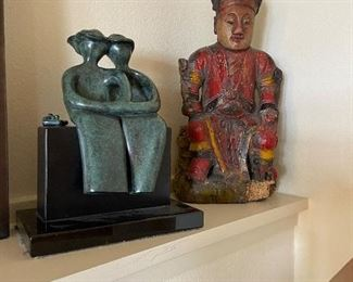 Painted wood carved seated statue sking $180