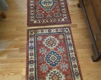 two PakistanKazak rugs for sale dimensions  for lower rug are  3' x 2'.  upper rug is 2'11 x 2' asking $180 each