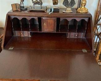 Interior of flat front drop down antique desk