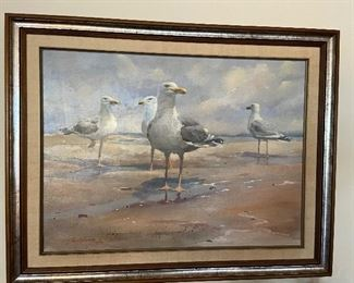 """Wonderful original oil of gulls on the beach by C H Christopherson, 1980 """"Clam Gatherings"""" asking $400 18"""" x 24"""" originally paid $650"""