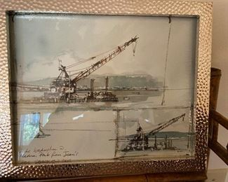 wonderful framed sketch done from the condo of 520 bridge and dedicated to homeowner by the artist. asking $90