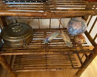 Brass Chapati bread storage or warmer asking $90, pottery fish and globe balls
