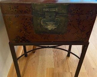 """Chinoiserie storage box Handpainted document box c. 1860  17"""" x11"""" x 23"""" originally $820 asking $380"""