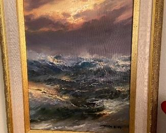 """One of two original oils from artist Juan A. Castillo Bertho, dated '84.  measures 12.75"""" x 10.5"""" asking $400"""