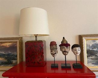 Asian lamp square lacquer based lamp asking $160.   Trio of antique puppet heads on stands originally $690 from Jane Piper Reid asking $360