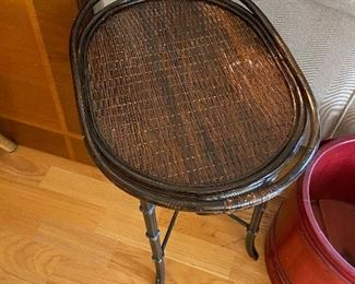 rattan tray on iron base perfect for a tight spot asking $130
